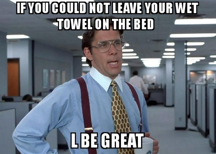 Leaving Wet Towel on Bed